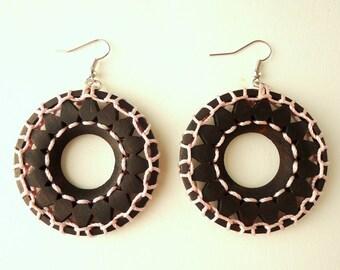 Hoop Earrings, Ethnic earrings, Pale Pink earrings, Wooden earrings, Boho earrings, Gypsy earrings, Tribal earrings,  African earrings