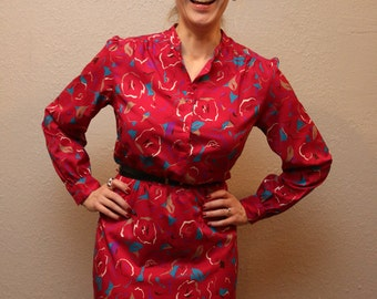 Retro Women's 80s Red Pink Dress / Vintage Floral Dress /  Size Medium/Large