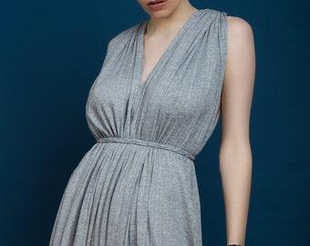Grey Drape Maxi Tall Dress With Splits