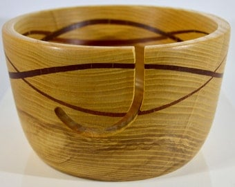 944 Yarn bowl, made from Silver Maple with a double wave of Sapele