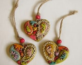 Rustic Paisley Heart Ornaments, Boho Paisley Ornaments Set of 3, Christmas Heart Ornaments