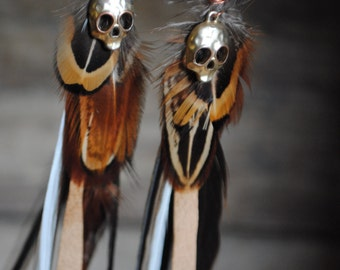 Skull Feather Leather Long Tribal Earrings