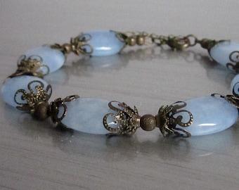 Blue Jade Gemstone Bracelet, Sky Blue Gemstone Jewellery, Rustic Jewellery,  Antique Bronze, Semi Precious Stone