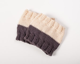 Knit Boot cuffs Reversible Boot toppers 2 color Hand Knit Boot Socks Knee high Leg warmers Winter wool socks Womens Christmas gift idea