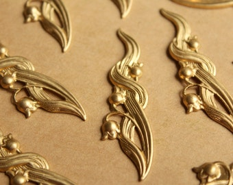 4 pc. Raw Brass Tulips & Leaves Stampings: 55mm by 15mm - made in USA - RB-805