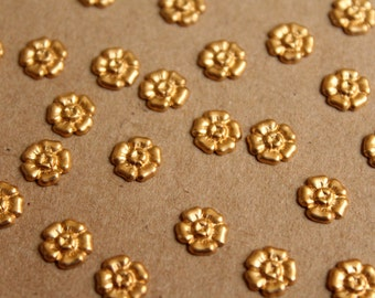 24 pc. Tiny Raw Brass Flower Stampings: 7.5mm diameter - made in USA | RB-908
