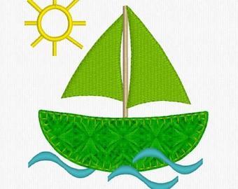 Digitized Embroidery Design -Applique' - Sailboat on the Sea, Boat