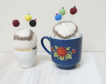 Felted pin cushion in cup blue floral orange white Vintage wool ball natural beige eco cappuccino coffee latte heart egg lot bulk