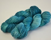 Hand dyed yarn pick your base - Teal - sw merino cashmere nylon fingering dk worsted