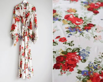 """One custom long """"Noguchi"""" kimono robe in faux silk. Long kimono robe Long silk kimono Ivory Bridal silk robe with pockets Gift for her"""