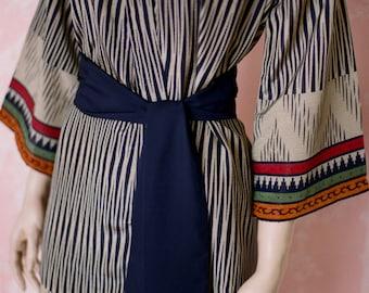 Hunter. OOAK ready to ship robe. Faux silk crepe robe in khaki and navy blue. Faux silk kimono. Medium.