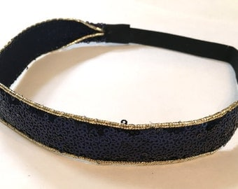 Navy Blue Sequins Headband