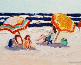 ACEO beach umbrellas, small original painting, seashore, miniature, figures, shore, children, blue, red, orange, people, artist trading card