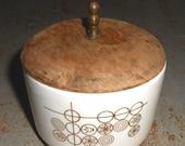 ON SALE Vintage Sugar Bowl, Wood Lid, Retro, 22 KT Gold, White