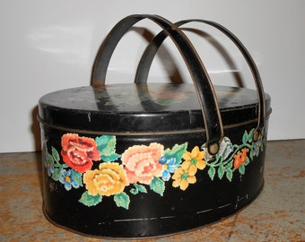 Vintage Tin, Sewing Box, Black, Tole, Floral, Roses, Handles, Picnic Basket, Container, Oval, Tin Container, Canister, Storage Box