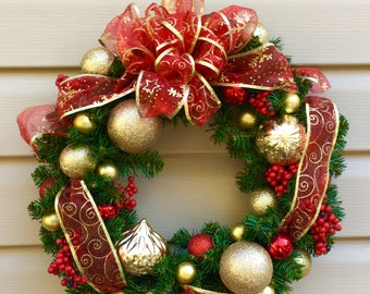 Christmas Wreath--Classic Christmas--Gold and Red
