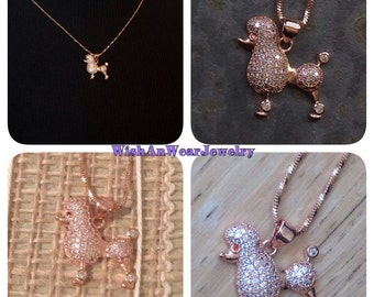 French Poodle CZ Pendant/Charm Rose Pink Gold Necklace Sparkling Pave Set Stones Ruby Rhinestone Dog Lover WishAnWearJewelry Assemblage XO