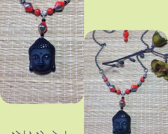 Black Carved Gemstone Buddha Head Pendant Assemblage Necklace Beaded Coral-Red Silver Brass Rolo Chain OOAK Good Kharma Original WishAnWear