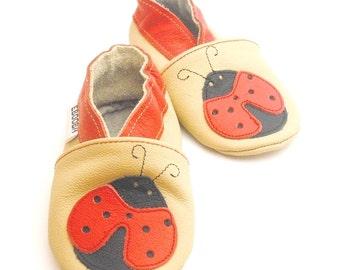 soft sole baby shoes infant kids gift ladybird red beige 18 24 m Krabbelschuhe chaussons chaussurese garçon fille bebes ebooba LB-13-BE-M-4