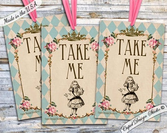 TAKE ME Alice in wonderland tags / Alice in Wonderland party supplies / favor stickers / favor labels / printable / instant download / diy