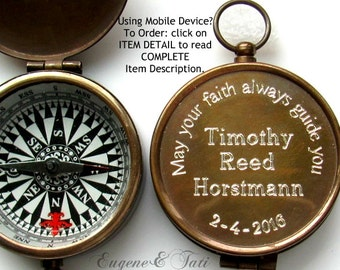 Baptism Boy Gift, Engraved Compass, Confirmation Boy Gift, Working Compass, Custom Compass. Working Compass. Brass. Personalized Compass.