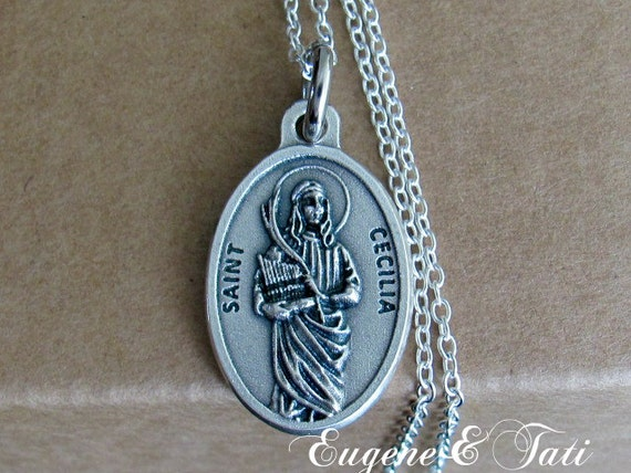 Saint cecilia st cecilia necklace st cecily pendant like this item mozeypictures Choice Image