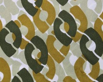 Vintage Geometric Circle Polyester Fabric, Avocado Green Mod Retro, 70s 1970 Dress Blouse Stretchy Fabric 3 1/2 yards