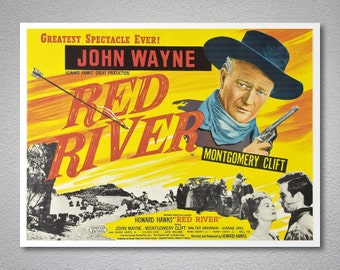 Red River, John Wayne, Montgomery Clift Vintage Movie Poster - Poster Paper, Sticker or Canvas Print