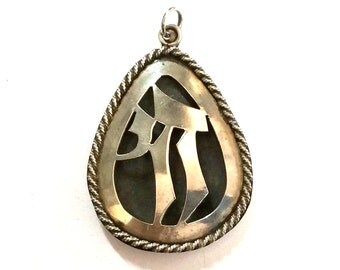Large Sterling Silver Chai Pendant Israel