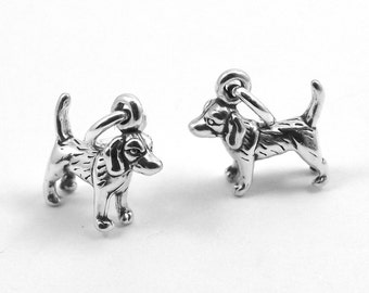 Two Sterling Silver Mini Beagle Dog Charms  - 3099