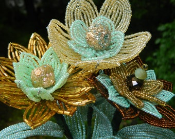 Mint, Gold, and Bronze French Beaded Flower Trio