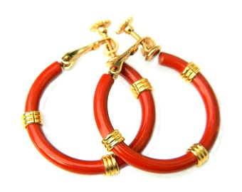 Napier Red Enamel Earrings 60s Hoop Clip On Adjustable Patent Pending 3178475 Womens Collectible Jewelry Brick Red Retro Hoop Earrings