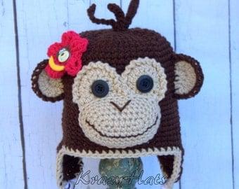 Crochet Monkey hat.Monkey hat.Handmade hat.