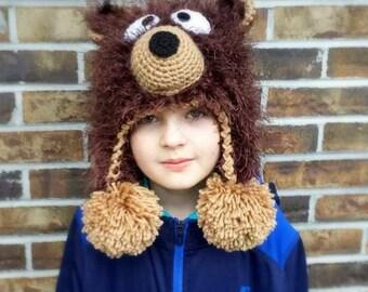 Fuzzy Bear hat.Crochet bear hat.