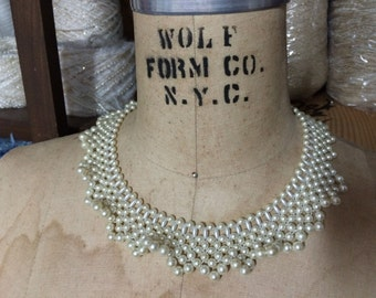 Ruffled Pearl Collar Vintage Necklace Choker