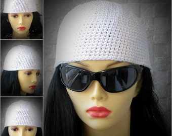 WHITE cotton BEANIE, Black hat for Kundalini sadhana Kufi hat Crochet Cotton hat Skullcap scalloped