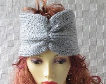 Knit Headband, Chunky Knit Turban, Wide Knit Ear Warmer Light Grey knit Accessories Winter Hat