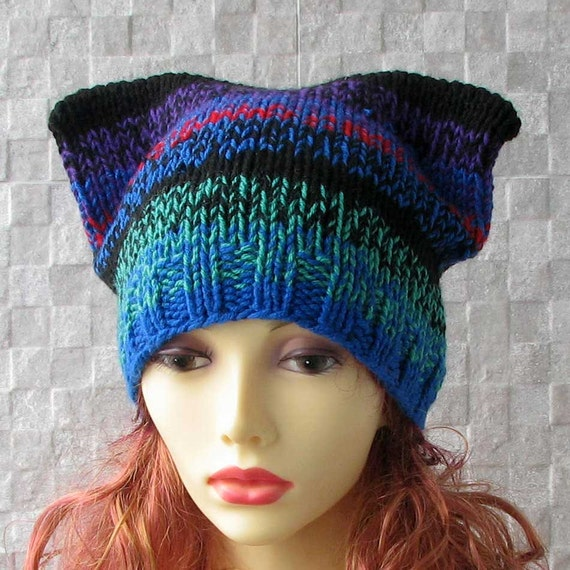 Knitting Pattern For Beanie With Ears : Cat Ears Beanie Knit Cat ears hat Beanie Hats e Knitting Knit