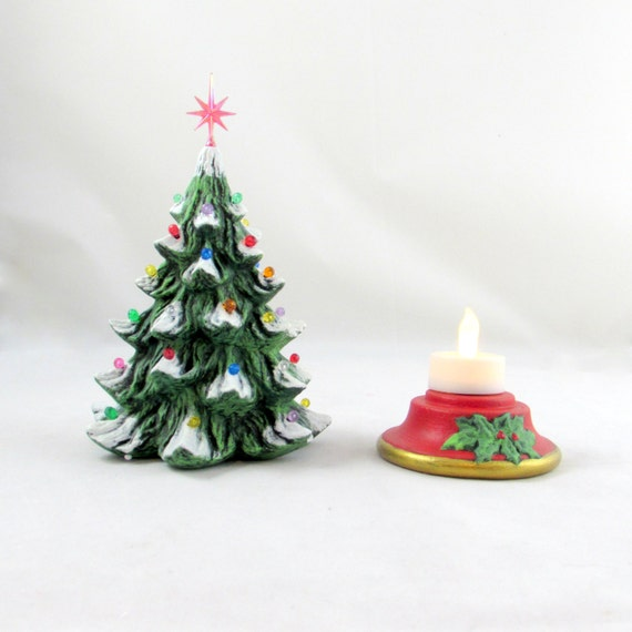 Small Battery Operated Christmas Tree: Small Ceramic Christmas Tree 10 Inches With Base-hand Made
