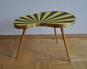 RARE Authentic Mid Century Plant Stand. Striped. Black and yellow. 1950s. Small Table. Germany. 1081