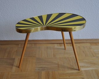 10% OFF RARE Authentic Mid Century Plant Stand. Striped. Black and yellow. Plant stand. 1950s. Small Table. Germany. 1081