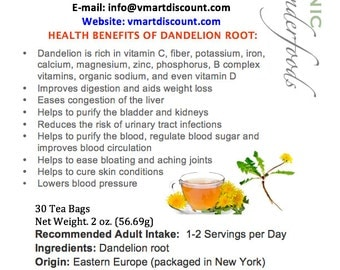 Simply Natural 100% Organic Roasted Dandelion Root Herbal Tea (30 Tea Bags) - Caffeine Free