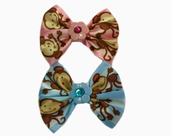 Monkey Hair Bows, Girls Hairbow, Blue and Pink Hair Bows, Girl Hair Bow, Hair Clips, Toddler