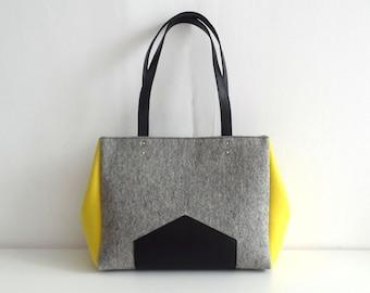Gray Yellow Black Felt Leather Handbag