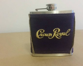 Crown Royal Flask Cover/Cozie Made From Crown Royal Bag with 6 oz Stainless Steel Hip Flask, Groomsmen Gifts, Father's Day Gift, Etsy Dudes