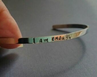 Skinny mantra cuff bracelet, narrow cuff bracelet, mantra cuff, quote cuff, saying cuff, stacking cuff