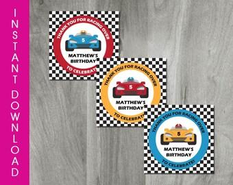 Race Car Party, Self Editable, INSTANT DOWNLOAD, Go Kart,  Birthday Favor Tag, Diy Printable, Personalize, Digital Pdf file, Race Car Driver