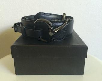 Gucci Horsebit Belt Black Leather Gunmetal Hardware in Gucci Box