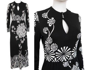 PAGANNE by Gene Berk 1970s Vintage Maxi Evening Dress Keyhole Neckline Black White Graphic Print US Size 6 Small