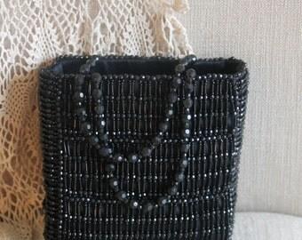 Vintage black beaded handbag